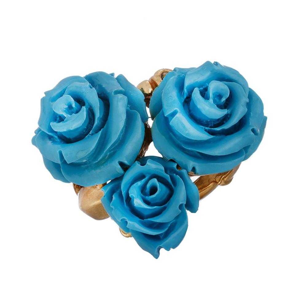 Кольцо Dea из серебра с позолотой с тремя розами и цирконами