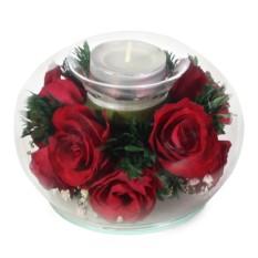 Цветы в стекле: Композиция-подсвечник из красных роз