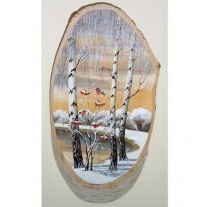Картина Снегири на срезе березы