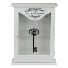 Белая ключница со стеклянной дверцей