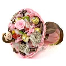 Букет из одной игрушечной обезьяны и конфет Микс