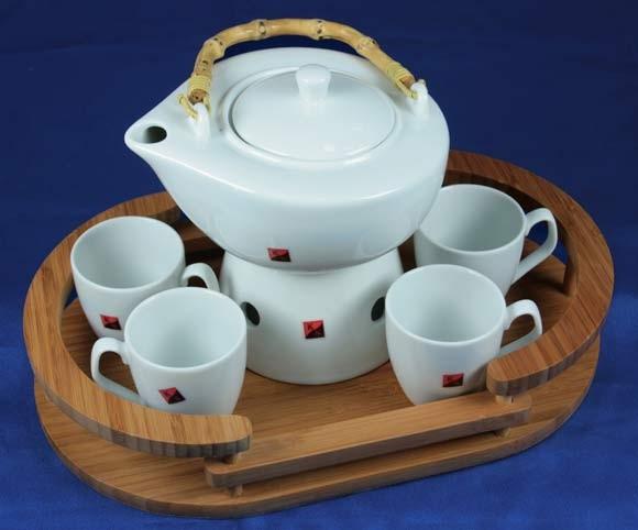Чайный набор на бамбуковой подставке на 4 персоны
