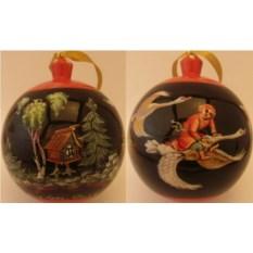 Деревяный елочный шар-шкатулка Гуси-лебеди