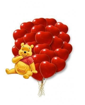 Облако воздушных шаров 50 красных сердец