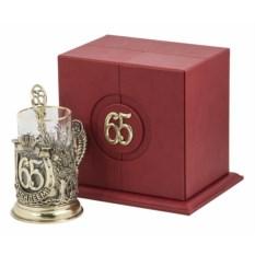 Набор для чая С юбилеем-65 лет (кожаный футляр, бронза)