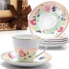 Фарфоровый кофейный сервиз Цветы на 12 предметов Lorain