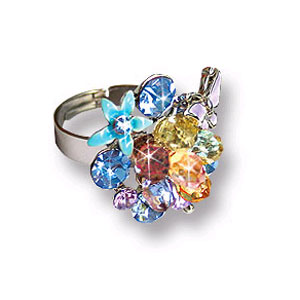 Кольцо с голубыми кристаллами