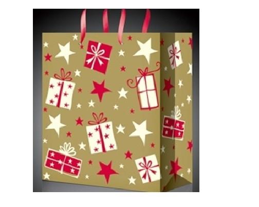 Бумажный пакет для подарков на Новый год
