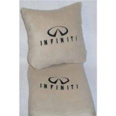 Бежевый плед с черной вышивкой Infiniti
