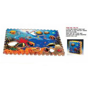 Коврик-пазл из 6 частей с вынимающимисяся рыбками
