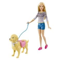 Игровой набор с куклой Barbie Прогулка с питомцем Mattel