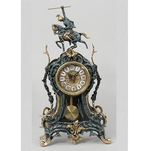 Часы бронзовые каминные с маятником Всадник