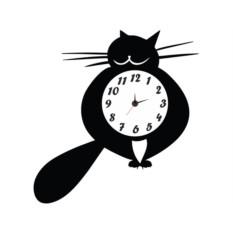 Настенные часы-наклейки Толстый кот
