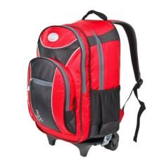 Детский красный рюкзак на колёсах