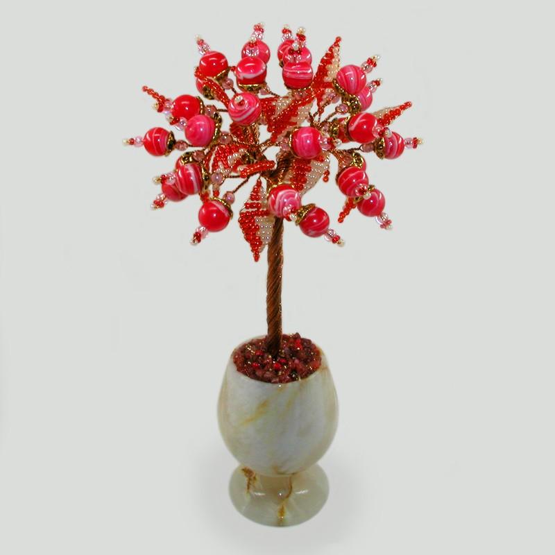 Дерево любви из родонита в вазочке из оникса