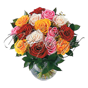 Композиция из Разноцветных Роз
