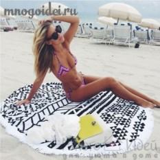 Круглое пляжное полотенце с бахромой Черно-белые паттерны