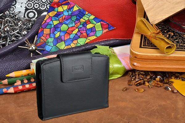 Мужское чёрное портмоне Mano из натуральной кожи