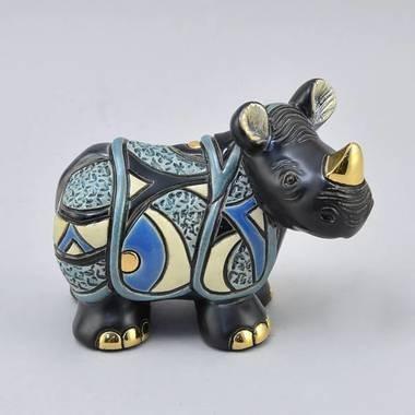 Керамическая статуэтка с позолотой Яванский носорог