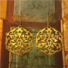 Серьги Арабеска, позолоченное серебро