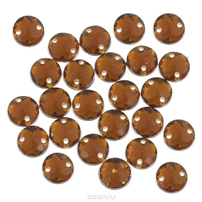 Пришивные стразы Астра, акриловые, круглые, медные, диаметр 6,5 мм, 25 шт