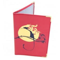 Кожаная обложка для паспорта Луна и кошка