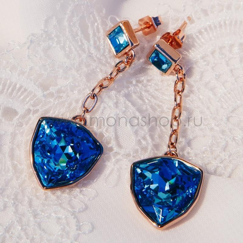 Серьги «Морские якоря» с голубыми камнями Swarovski