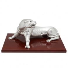 Скульптура c матовым посеребоением Разъяренная пантера