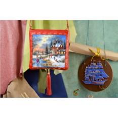 Женская сумка-планшет Зима в уютном пригороде