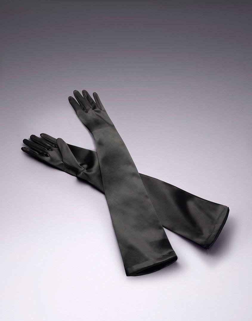Черные перчатки Long Satin