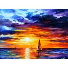 Картина по номерам «Корабли уходят на закат» Л. Афремова