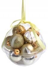 Набор елочных шаров Яркие оттенки, золотистые