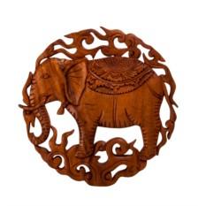 Круглое резное панно Слон