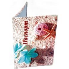 Кожаная обложка для паспорта Цветы на морском берегу