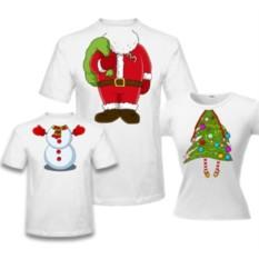 Семейные футболки Дед мороз, елка и снеговичок