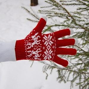 Перчатки сенсорные Белый олень (красные)