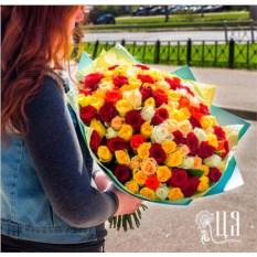 Букет из 101 розы Кения в крафте