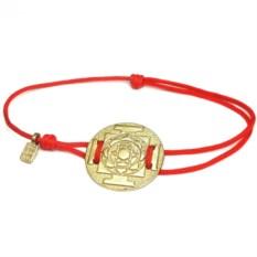 Веревочный браслет Янтра Лакшми (позолоченное серебро)