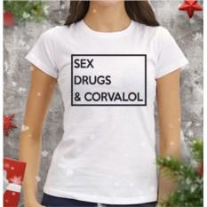 Женская футболка Sex drugs corvalol