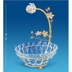 Позолоченная конфетница с цветами Сваровски