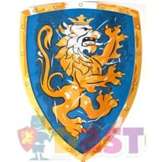 Игрушечный синий щит с коронованным золотым львом