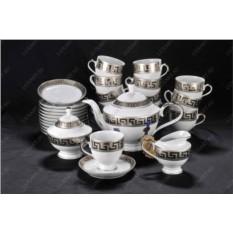 Фарфоровый чайный сервиз на 12 персон Depos Greca Plat