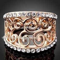 Кольцо Резное с россыпью кристаллов Swarovski
