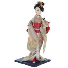 Декоративная кукла Гейша в красно-золотистом кимоно