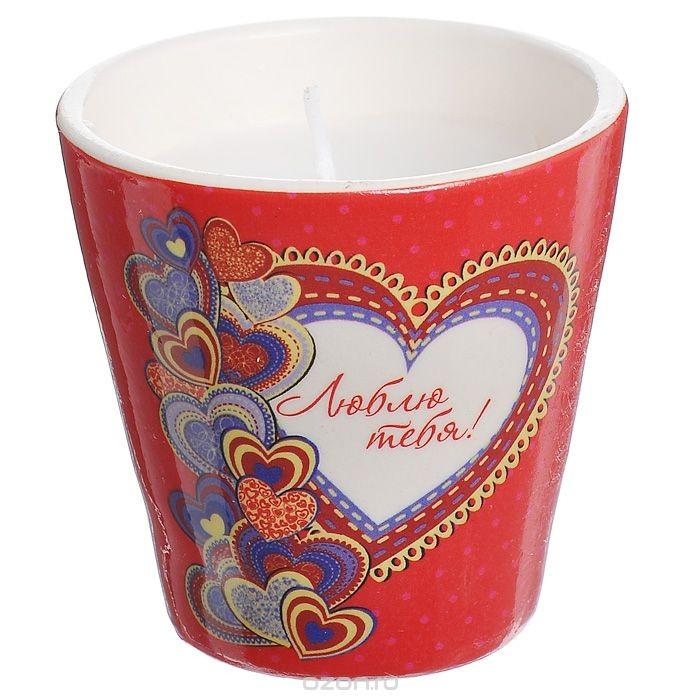 Декоративный подсвечник Люблю тебя!, со свечой, цвет: красный