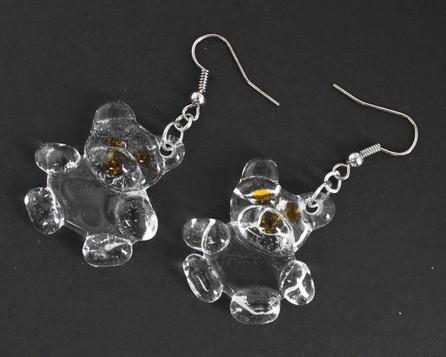 Серьги Медведи, прозрачные (стекло, пара)