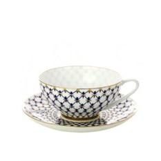 Чашка с блюдцем чайная, форма Купольная, рисунок Кобальтовая сетка, Императорский фарфоровый завод