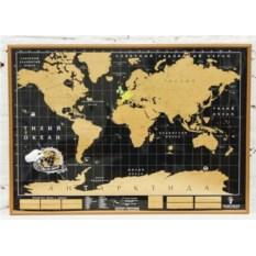 Черная скретч карта мира в рамке Deluxe Truemap