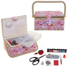 Розовая шкатулка для рукоделия с набором для шитья