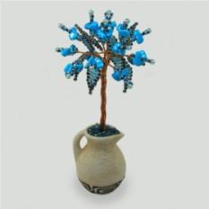 Миниатюрное дерево из бирюзы в вазочке из белой глины